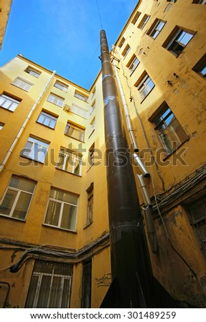 downspout on a building - stock photo