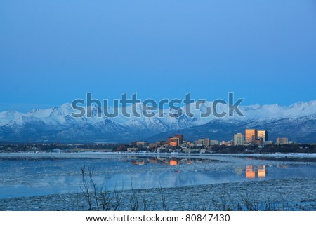 Downtown Anchorage Alaska - stock photo