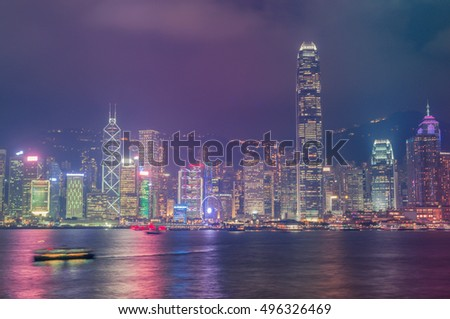 Downtown and building in Hong Kong skyline at night