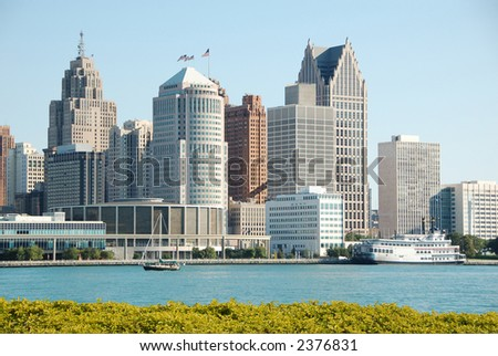 Downtown and waterfront of Detroit, Michigan seen from Canadian side - stock photo