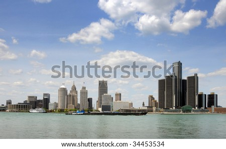 Downtown and waterfront skyline of Detroit, Michigan - stock photo