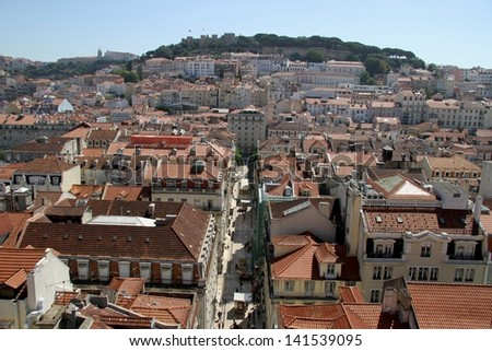 Downtown area of Lisbon, Portugal - stock photo