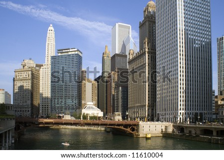 Downtown around Chicago River - Chicago, IL.
