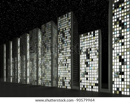 Downtown at night: Abstract skyscrapers and starry sky - stock photo