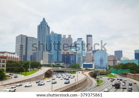 Downtown Atlanta, Georgia on a cloudy day - stock photo