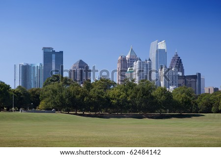 Downtown Atlanta, view from Piedmont Park - stock photo