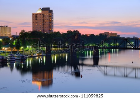 Downtown Augusta, Georgia sits on the Savannah River and is the second most populous city in the state with nearly 200,000 residents. - stock photo