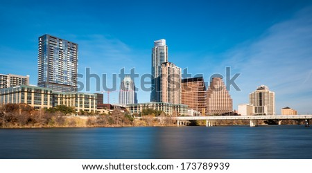 Downtown Austin and the Colorado River from Auditorium Shores in Austin, Texas - stock photo
