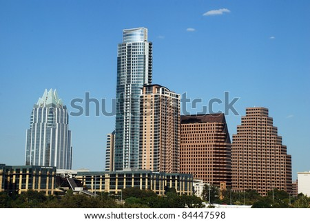Downtown Austin Texas from Lady Bird Lake, also known as Town Lake and Colorado River. - stock photo