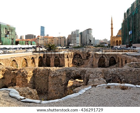 Downtown Beirut: archeology and a modern skyline on a white background