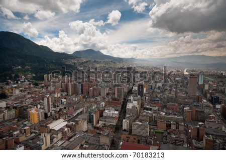 Downtown Bogota, Colombia seen from above