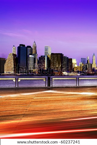Downtown Brooklyn skyline in New York City at night - stock photo