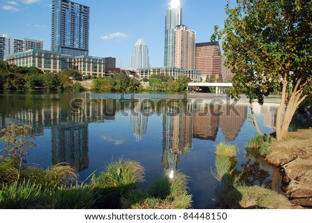 Downtown buildings Austin Texas seen from Auditorium Shores - stock photo