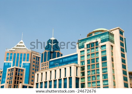 Downtown buildings in Bangalore, India - stock photo