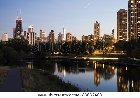 Downtown buildings seen from Lincoln Park - stock photo
