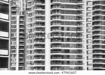 downtown buildings zoom in black and white - stock photo