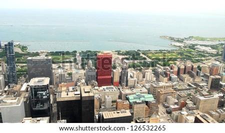 Downtown Chicago Aerial View , Illinois USA - stock photo