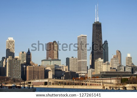 Downtown Chicago against blue sky - stock photo