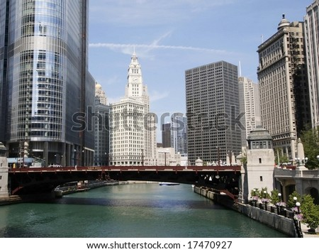Downtown Chicago and bridge over the river - stock photo