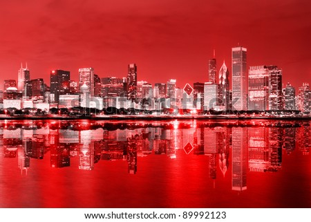 Downtown Chicago at December - stock photo