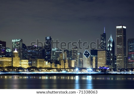 Downtown Chicago at night - stock photo