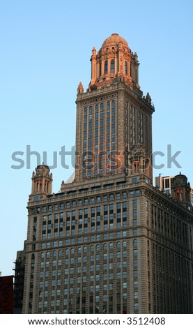 Downtown Chicago at Sunset - stock photo