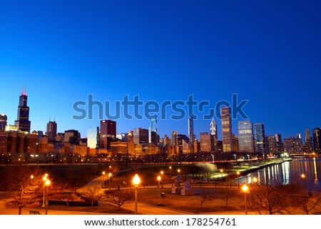 Downtown Chicago at sunset, IL, USA - stock photo