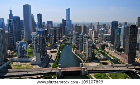 Downtown Chicago & Chicago River - stock photo