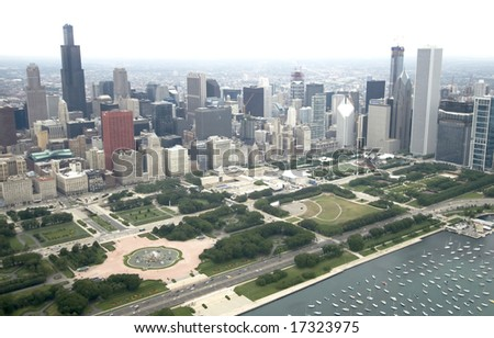 Downtown Chicago from the East via the air - stock photo