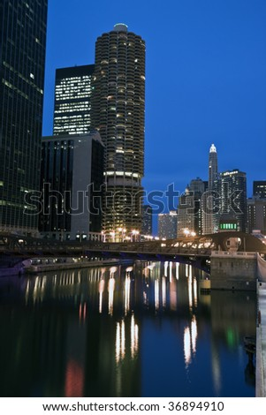 Downtown Chicago from the river. - stock photo
