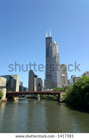 Downtown Chicago, Illinois from Chicago River tour. - stock photo