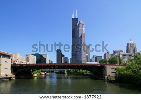 Downtown Chicago, Illinois from Chicago River tour. (3105) - stock photo