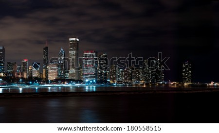 Downtown Chicago Illinois Skyline at Night Time - stock photo