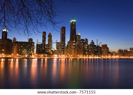 Downtown Chicago just after sunset. - stock photo