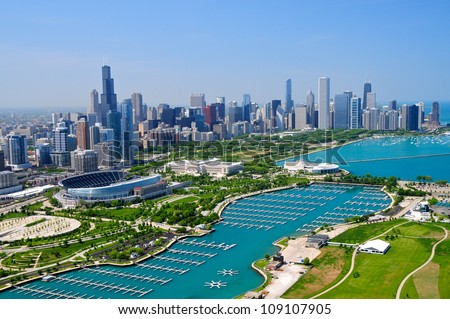 Downtown Chicago & Lake Michigan - stock photo