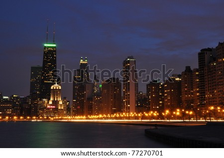 downtown Chicago lakefront at night - stock photo
