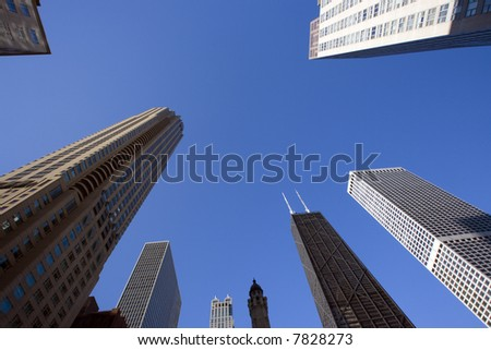 Downtown Chicago looking up - stock photo