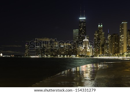 Downtown Chicago Magnificent Mile at night - stock photo