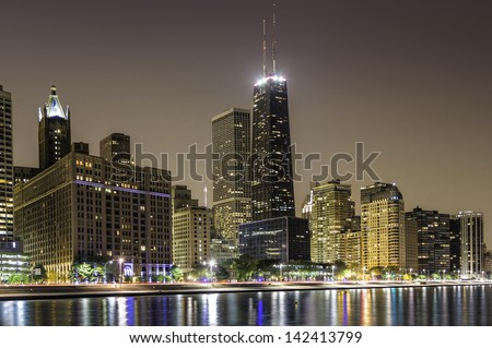 Downtown Chicago Magnificent Mile by dusk