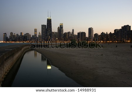 Downtown Chicago seen from the north side - stock photo
