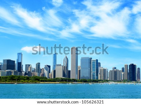 Downtown Chicago skyline - stock photo