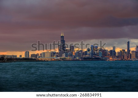 Downtown Chicago Skyline at dusk - stock photo