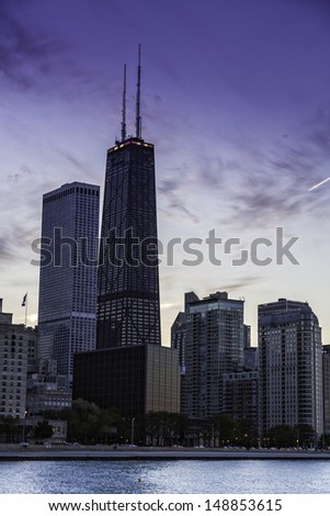 Downtown Chicago skyline by dusk - stock photo
