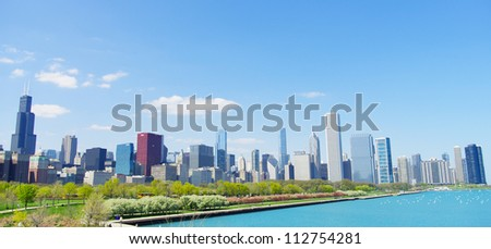 Downtown Chicago skyline & Lake Michigan, Illinois - stock photo