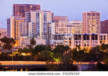 Downtown City and Freeway, San Diego California USA - stock photo