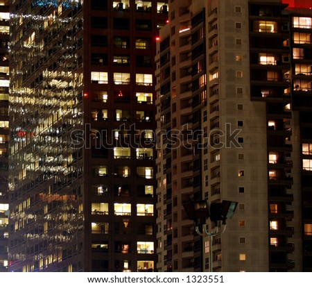 Downtown city at night. - stock photo
