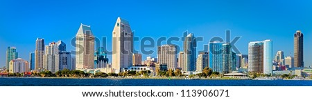Downtown City of San Diego, California Cityscape Panorama - stock photo