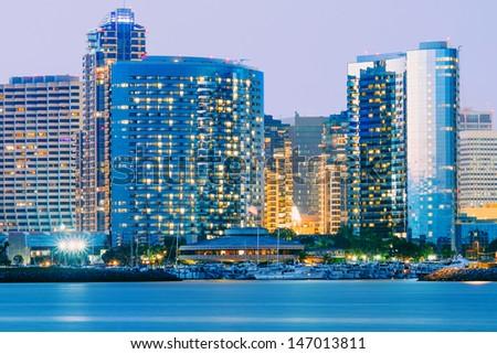 Downtown City of San Diego, California, Twilight  - stock photo