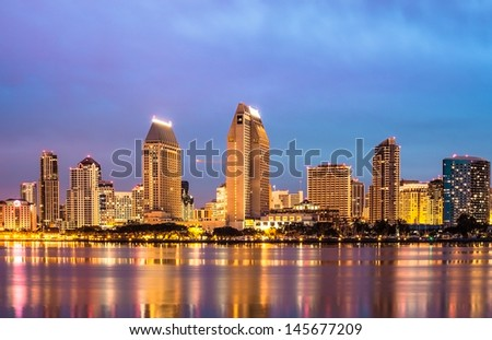 Downtown City of San Diego, California USA, Cityscape with Buildings Reflection - stock photo