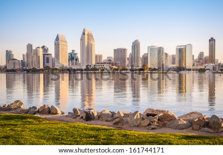 Downtown City of San Diego, California USA, Dawn Sunrise - stock photo